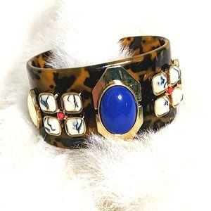 J. CREW Tortoise and stone Cuff Bracelet